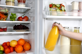 Stock the family fridge with fresh veggies and fruit.
